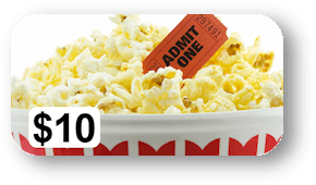 Bucket of popcorn and a movie ticket